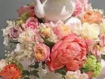 Aranjament ceainice bujori hortensie 04